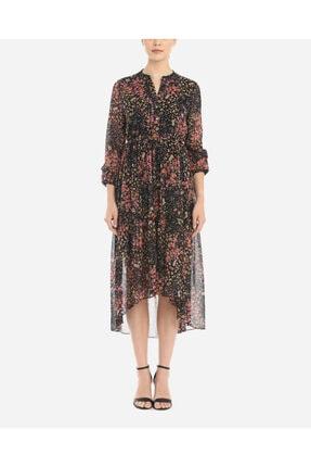 Ayhan Kadın Siyah Zemin Çiçek Desen Elbise