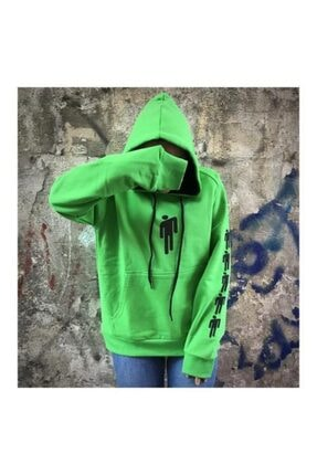 Köstebek Billie Eilish Logo Yeşil Üzeri Siyah Baskı (unisex) Kapüşonlu