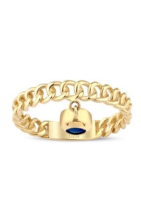Lizay Pırlanta Altın Mavi Boncuklu Yüzük