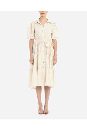 Ayhan Kadın Gri Balon Kol Elbise