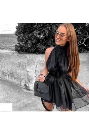 Kadın Siyah Elbise Organze LUXXO32315
