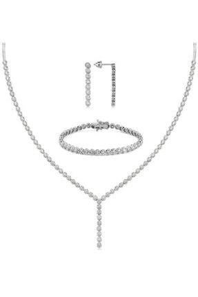 Valori Jewels Yuvarlak Montür, 14.9 Karat Swarovski Zirkon Taşlı, Gümüş Su Yolu Set