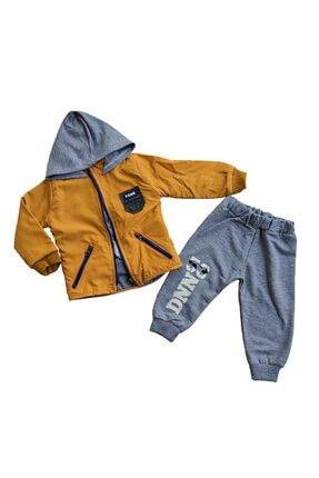 Donino Baby Erkek Bebek Hardal Kışlık Yağmurluk Montlu 3'lü Takım