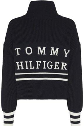 Tommy Hilfiger Kadın Siyah Varsıty Hıgh-nk Sweater Ls Kazak