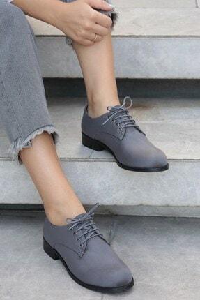 Mio Gusto Gri Kadın Oxford Ayakkabı 02104GRY