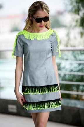 NK Kadın Gri Kareli Elbise