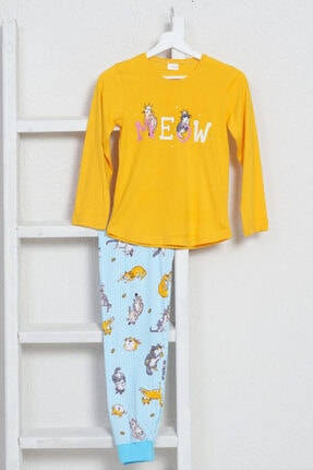 VİENETTA Genç Kız Süprem Penye O Yaka Eteği Oval Uzun Kol Manşetli Hardal Pijama Takım 9581,7-14yaş