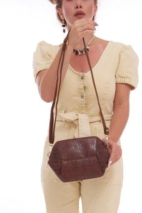 Fume London Kadın Taba Kroko Askılı Bölmeli Omuz Çantası Fb3065