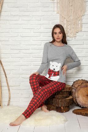 Elitol Kadın Gri Melanj Nakişli Pamuklu Likrali Pijama Takim