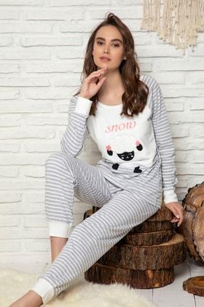 Elitol Kadın Desenli Nakişli Pamuklu Likrali Pijama Takim