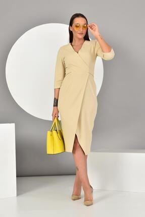 İroni Kadın Taş Kruvaze Yırtmaçlı Örme Elbise