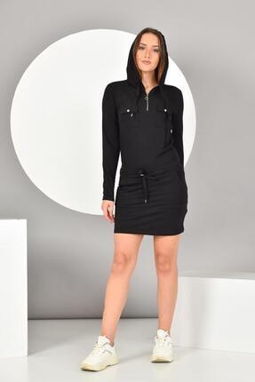 İroni Kadın Siyah Kapüşonlu Cepli Mini Elbise