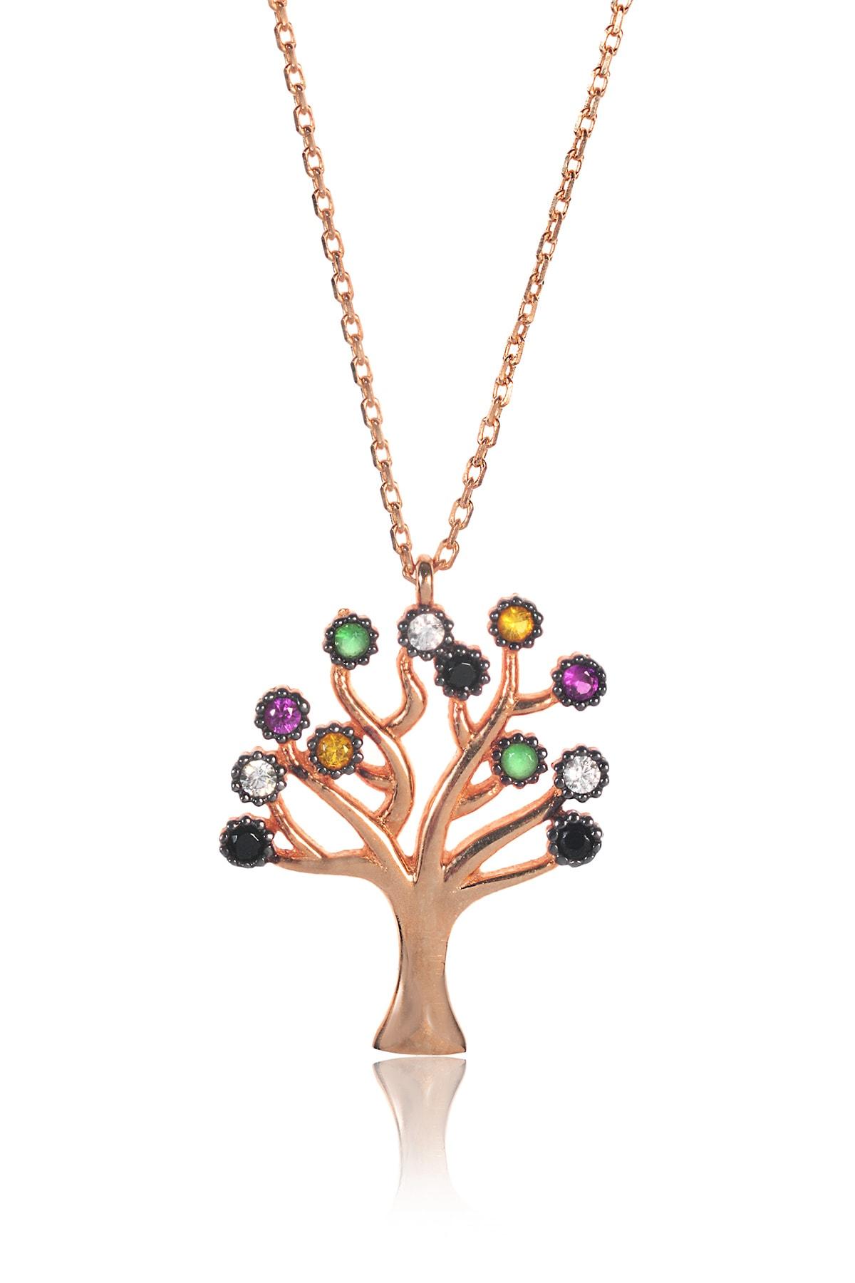 BY BARUN Kadın 925 Ayar Gümüş  Hayat Ağacı Kolye - Rose Kl-0133
