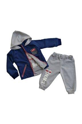 Donino Baby Erkek Bebek Lacivert Kışlık Yağmurluk Montlu 3 Lü Takım