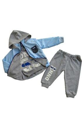 Donino Baby Erkek Bebek Mavi Kışlık Yağmurluk Montlu 3 Lü Takım