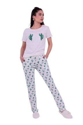 Jiber Kaktüs Desenli Kadın Pijama Takımı 3621