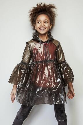 BG Store Kız Çocuk Gri Kapüşonlu  Yağmurluk