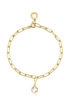 Valori Jewels Yuvarlak Kesim, Swarovski Zirkon Beyaz Taşlı, Altın Rengi Gümüş Charm Bileklik Kombini