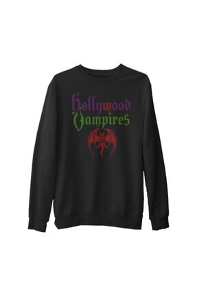 Lord Unisex Siyah Hollywood Vampires Kalın Sweatshirt