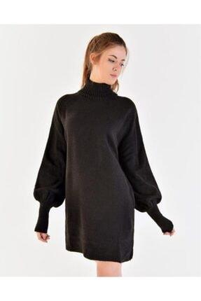 Vision Kadın Siyah Boğazlı Balon Kol Elbise
