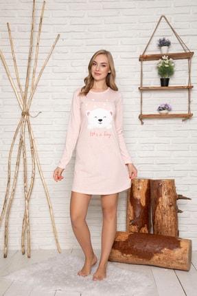 Elitol Kadın Somon Pamuklu Likrali Elbise