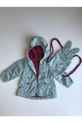 Midimod Kiraz Detaylı Çantalı Kız Çocuk Yağmurluk