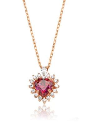 Valori Jewels 0.75 Karat Swarovski Zirkon Kırmızı Kalp Taşlı, Rose Gümüş Kolye