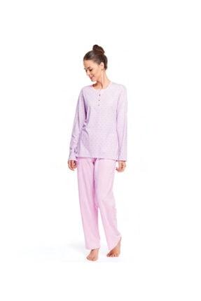 Çift Kaplan Kadın Pembe Kalpli Puantiyeli Patlı Pijama Takımı