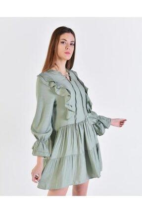 Vision Kadın Mint Fırfır Detaylı Elbise