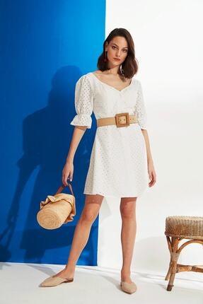 Nocturne Kadın Beyaz Kolları Volanlı Brode Elbise N19Y-2947-0001