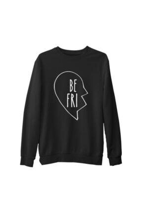 Lord Unisex Siyah Best Friends Kalp 1/2 1 Kalın Sweatshirt