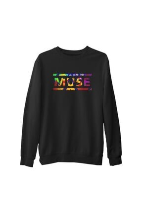 Lord Unisex Siyah Muse Cover Logo  Kalın Sweatshirt
