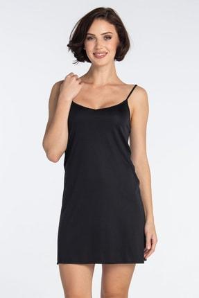 Eros Kadın Siyah Askılı Jüpon