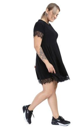 ANGELINO Kadın Siyah Genç Büyük Beden Dantel Mini Elbise