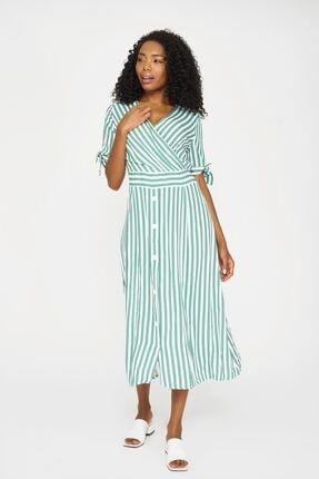 Batik Kadın Yeşil Çizgili Casual Elbıse