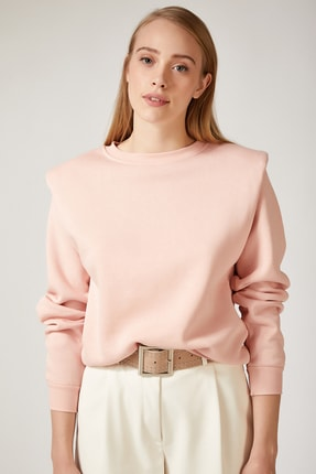 Happiness İst. Kadın Pembe Vatkalı Slim Crop Sweatshirt BP00048