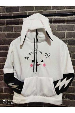 Unisex Beyaz Pikachu Kulaklı Sweatshirt pkachu235415njhg
