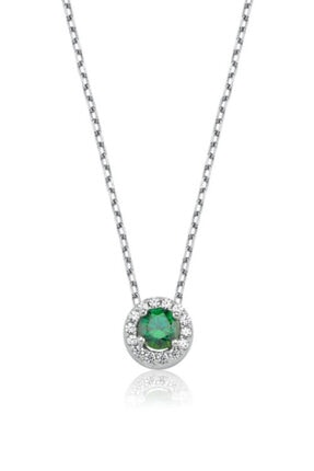 Valori Jewels 0.25 Karat Swarovski Zirkon Yeşil Yuvarlak Taşlı, Gümüş Kolye