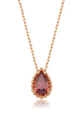 Valori Jewels 0.75 Karat Swarovski Zirkon Kırmızı Damla Taşlı, Rose Gümüş Kolye