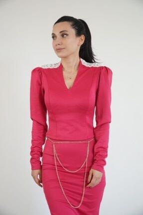 Lila Rose Kadın Fuşya Omzu Vatkalı Taş Detaylı Bluz