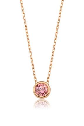 Valori Jewels 0.50 Karat Swarovski Zirkon Pembe Yuvarlak Taşlı, Rose Gümüş Kolye