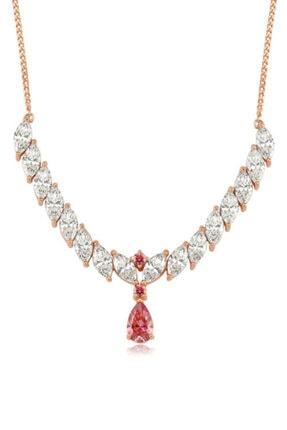 Valori Jewels 6 Karat Swarovski Zirkon Pembe Damla Ve Beyaz Markiz Taşlı, Rose Gümüş Kolye