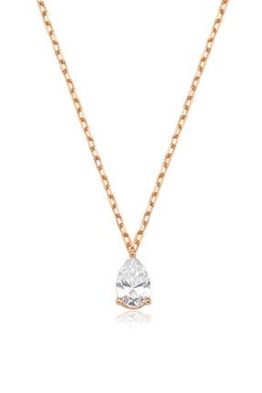 Valori Jewels 0.33 Karat Swarovski Zirkon Beyaz Damla Taşlı, Rose Gümüş Kolye