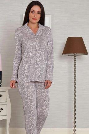 Tuğba Kadın Gri Önden Düğmeli Pijama Takım