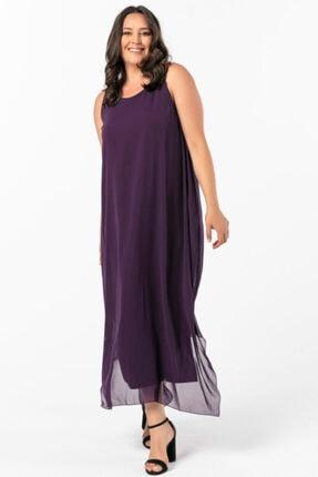 ANGELINO Kadın Mor Angelino Büyük Beden Kolsuz Bol Kesim Yanları Yırtmaçlı Şifon Elbise Kl7019