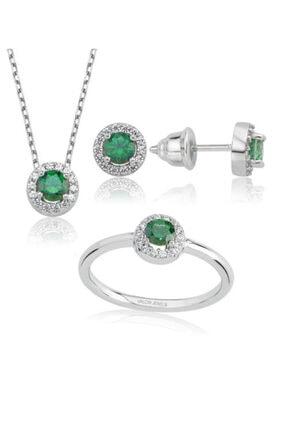 Valori Jewels 1 Karat Swarovski Zirkon Yeşil Yuvarlak Taşlı, Gümüş Set