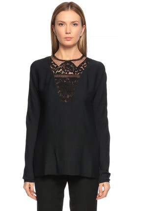 Lanvin Kadın Siyah Dantel İşlemeli  Bluz