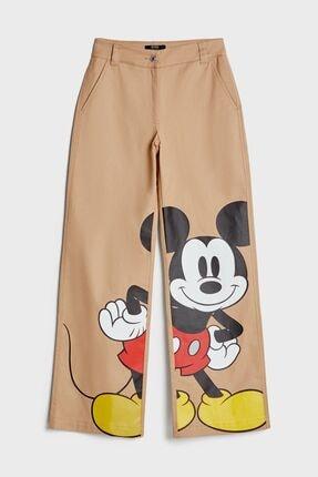 Bershka Kadın Kahverengi Mickey Mouse Wide Leg Pantolon
