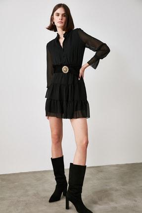 TrendyolMilla Siyah Dik Yaka Volanlı Elbise TWOAW21EL1481