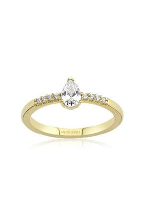 Valori Jewels 0.33 Karat Swarovski Zirkon Beyaz Damla Taşlı, Altın Rengi Gümüş Yüzük